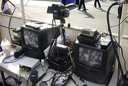 Closeup view of ATV equipment on Veterans Day Parade video platform