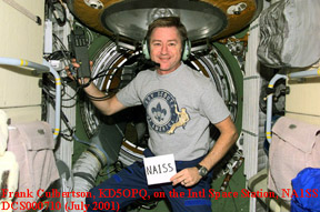 Photo of Frank Culbertson, KD5OPQ, on the International Space Station